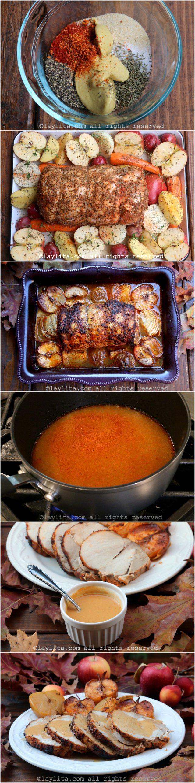 Como preparar lomo de cerdo o chancho asado con manzanas y salsa de sidra