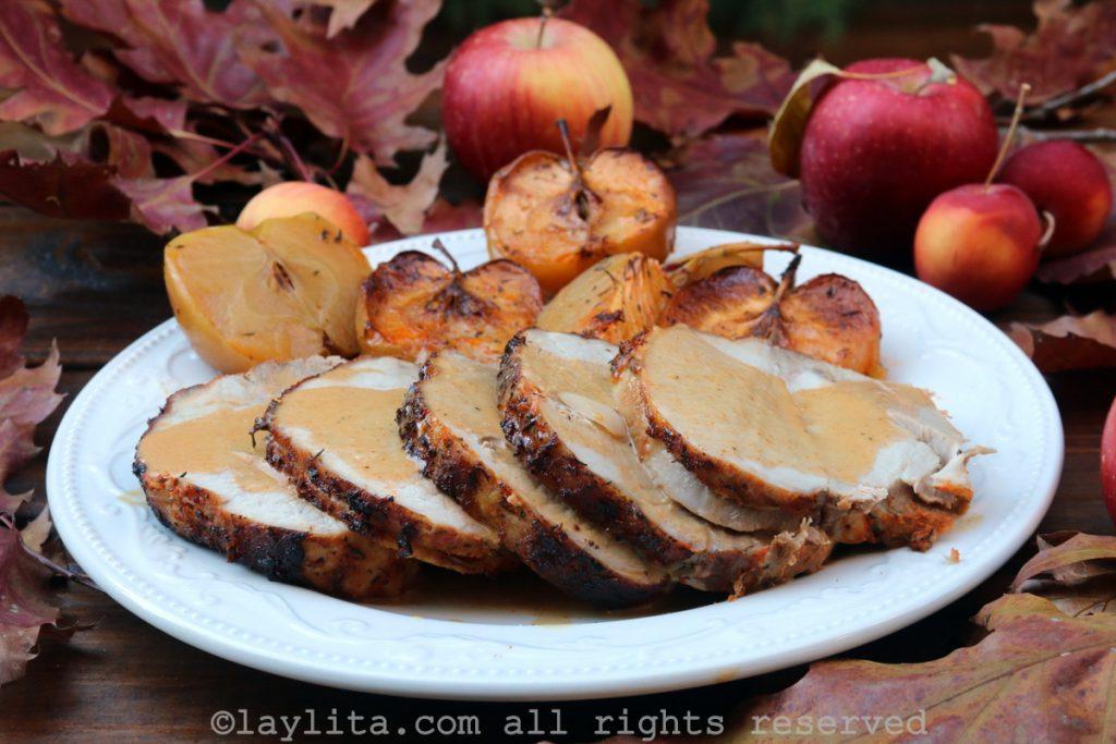 Lomo de cerdo con manzanas y sidra