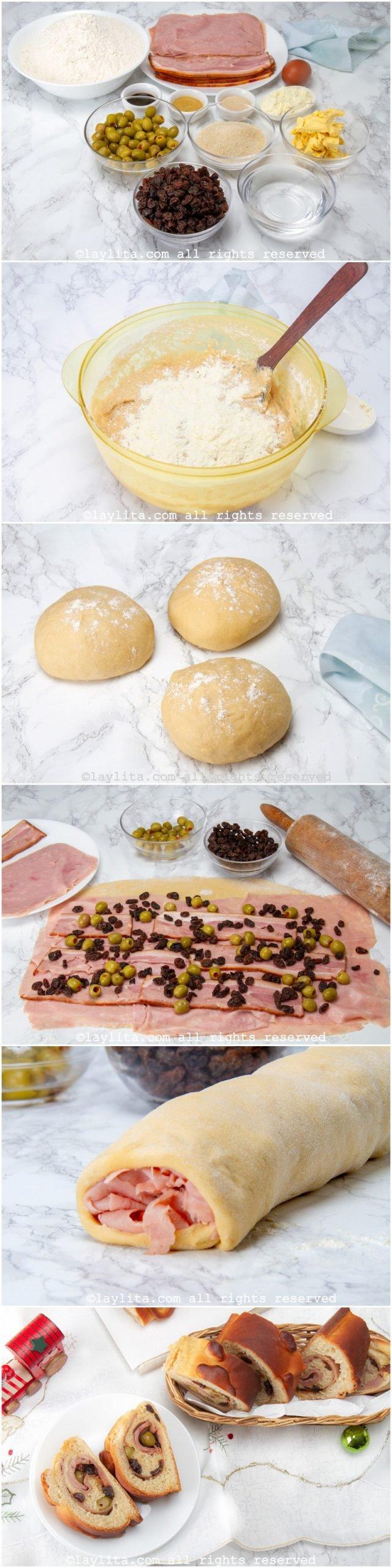 Fotos paso a paso para preparar pan de jamón