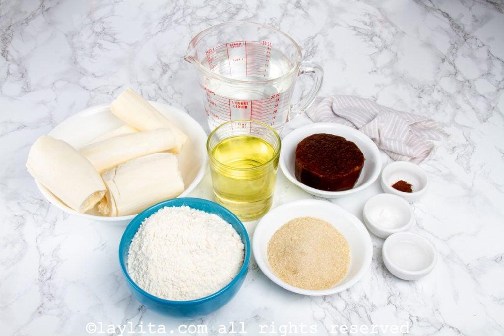 Ingredientes de los buñuelos de yuca
