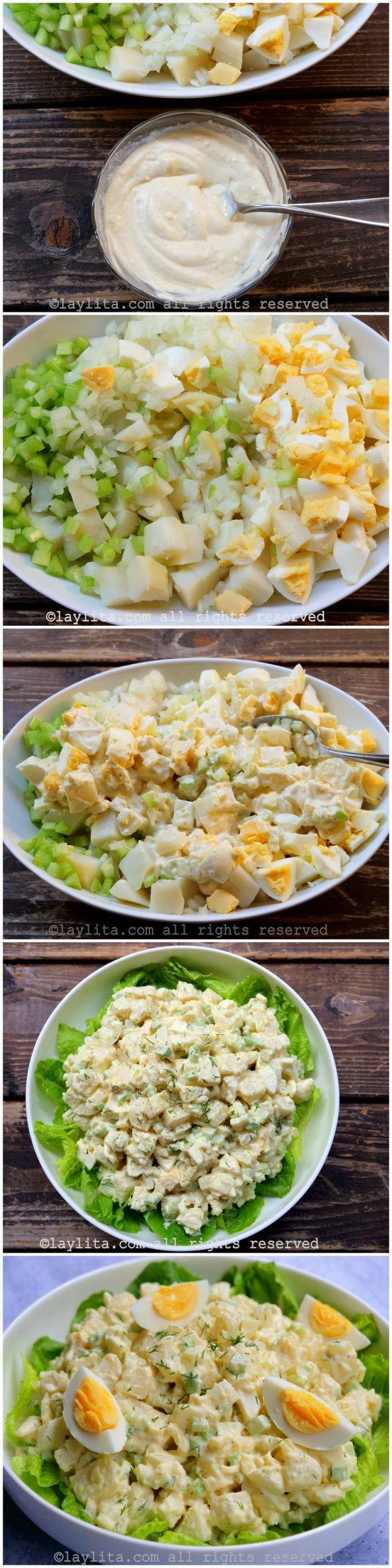 Preparación paso a paso de la ensalada de papas y huevo