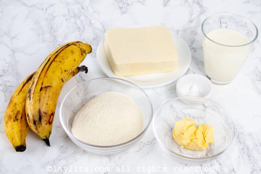 Ingredientes de las arepas de plátano