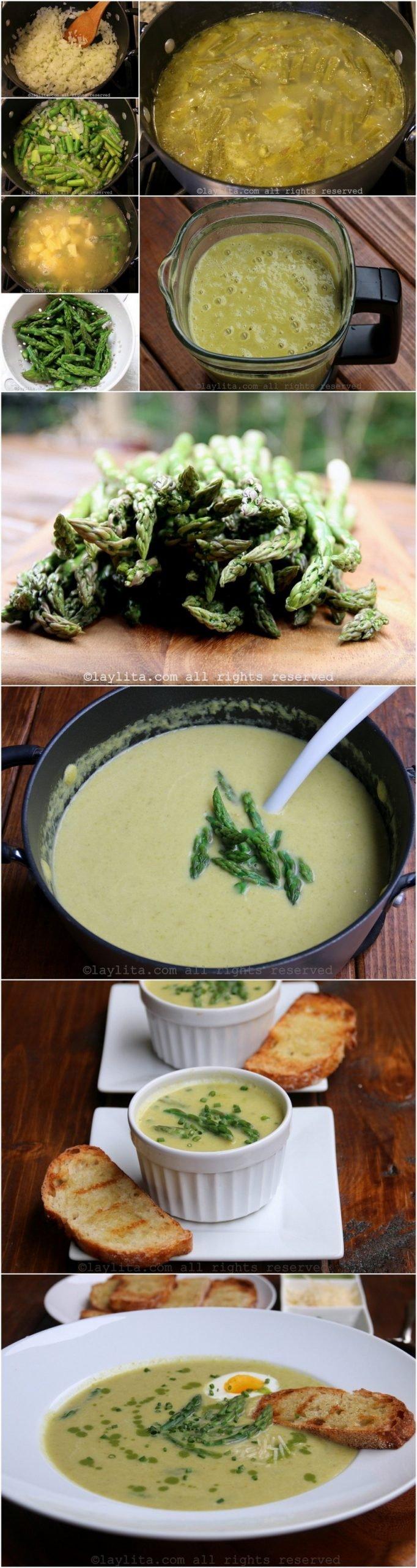 Como preparar la sopa o crema de espárragos - fotos paso a paso