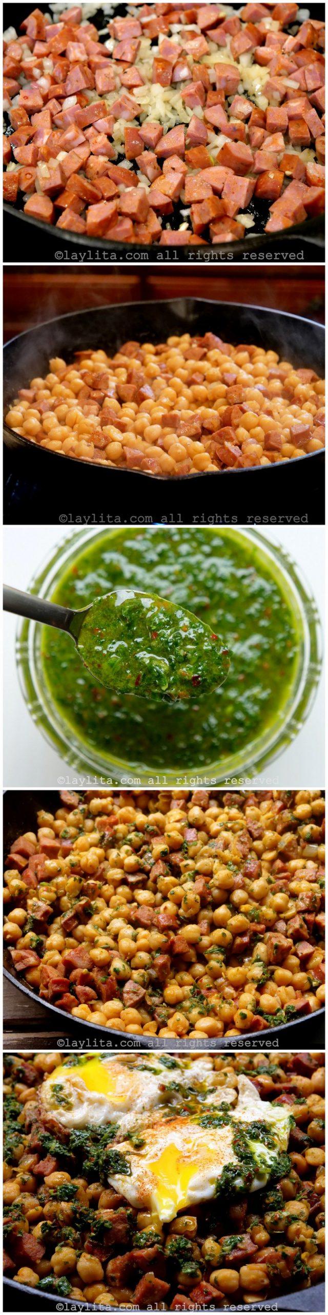 Fotos paso a paso para preparar garbanzos fritos con chorizo y chimichurri