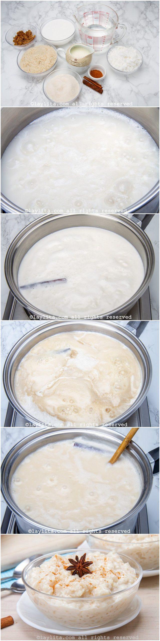 Como hacer postre de arroz con coco - fotos paso a paso