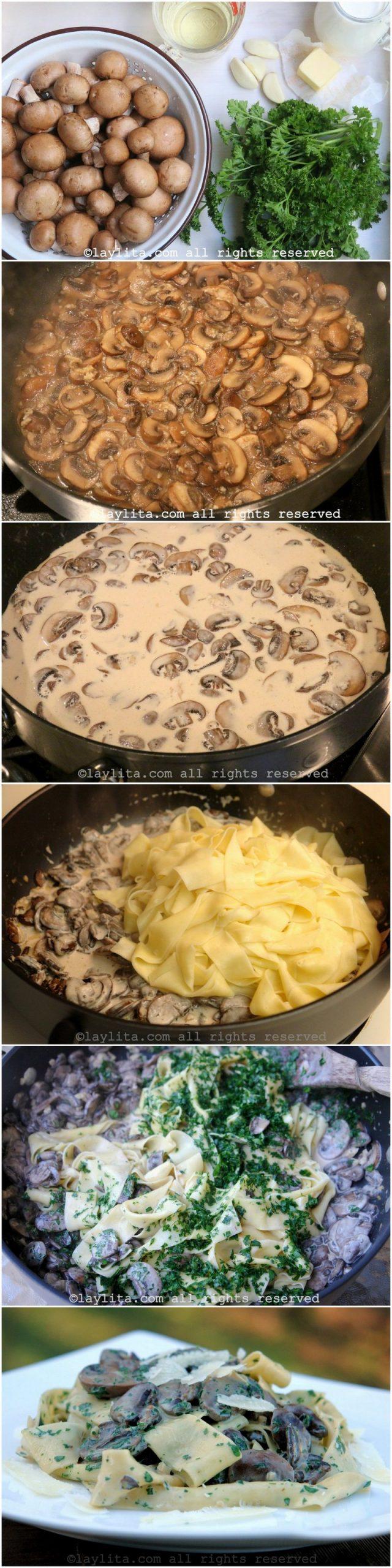 Como preparar pasta con salsa de champiñones al ajillo