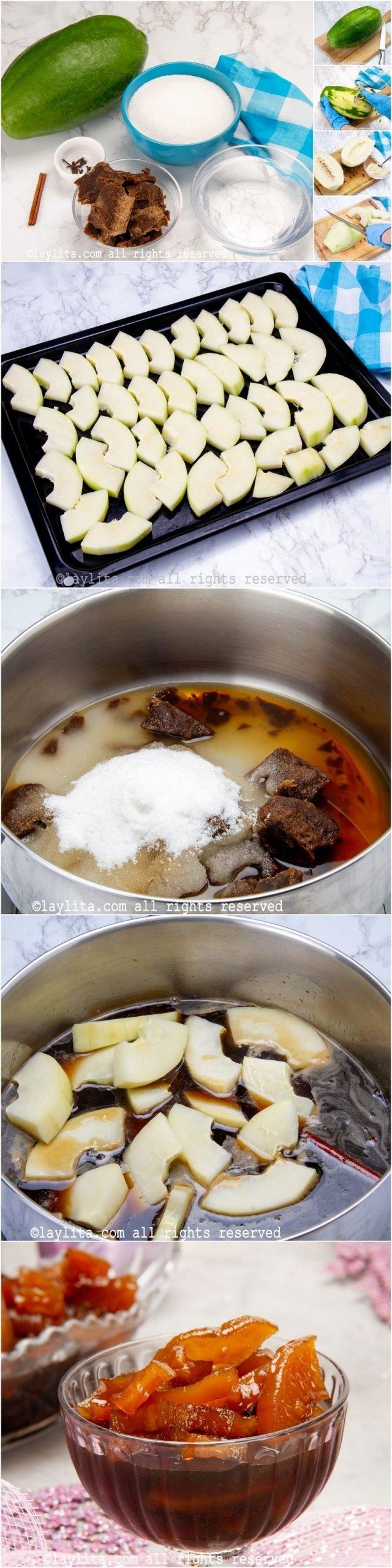 Fotos de la preparación paso a paso del dulce de lechosa o papaya