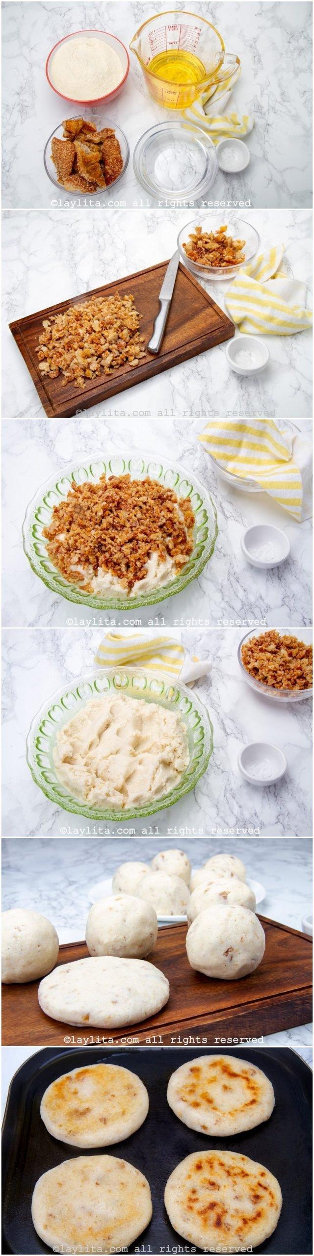 Fotos paso a paso para preparar las arepas de chicharrón