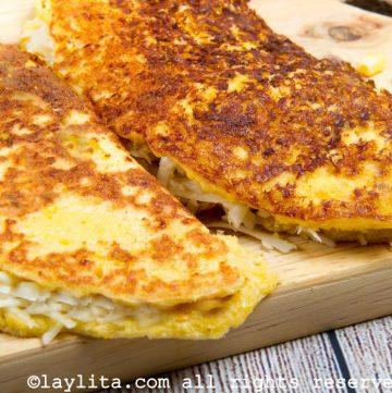 Cachapa rellena de queso
