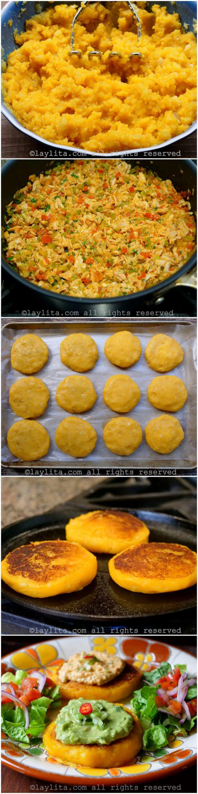 Preparación paso a paso de las tortillas o tortitas de papa con atún