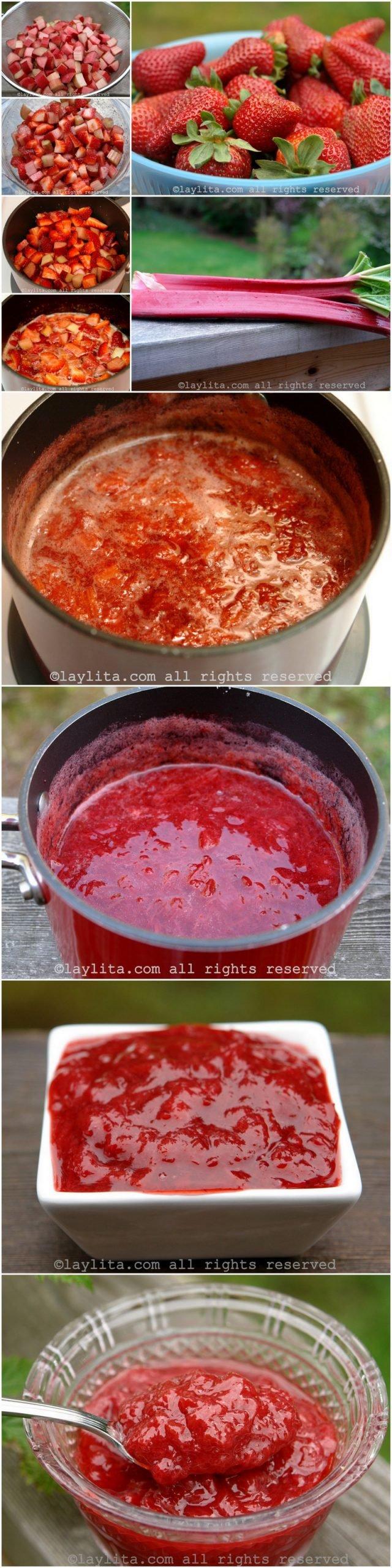 Como preparar una compota o salsa dulce de ruibarbo y fresa