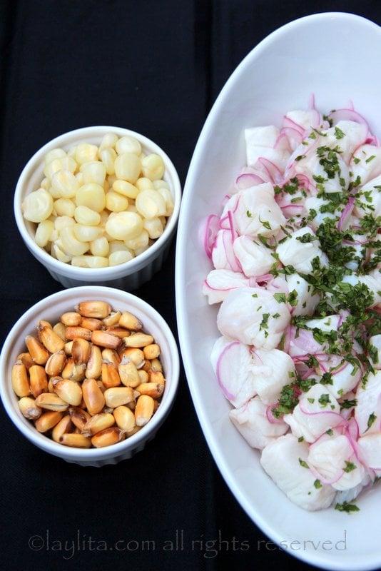 ingredientes para el ceviche peruano