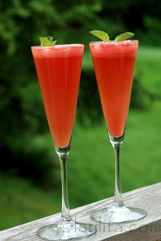 Coctel de sandia y champan