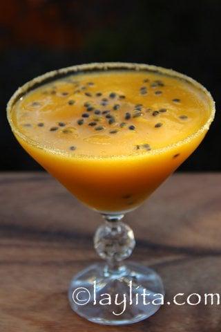 Coctel margarita de mango maracuya