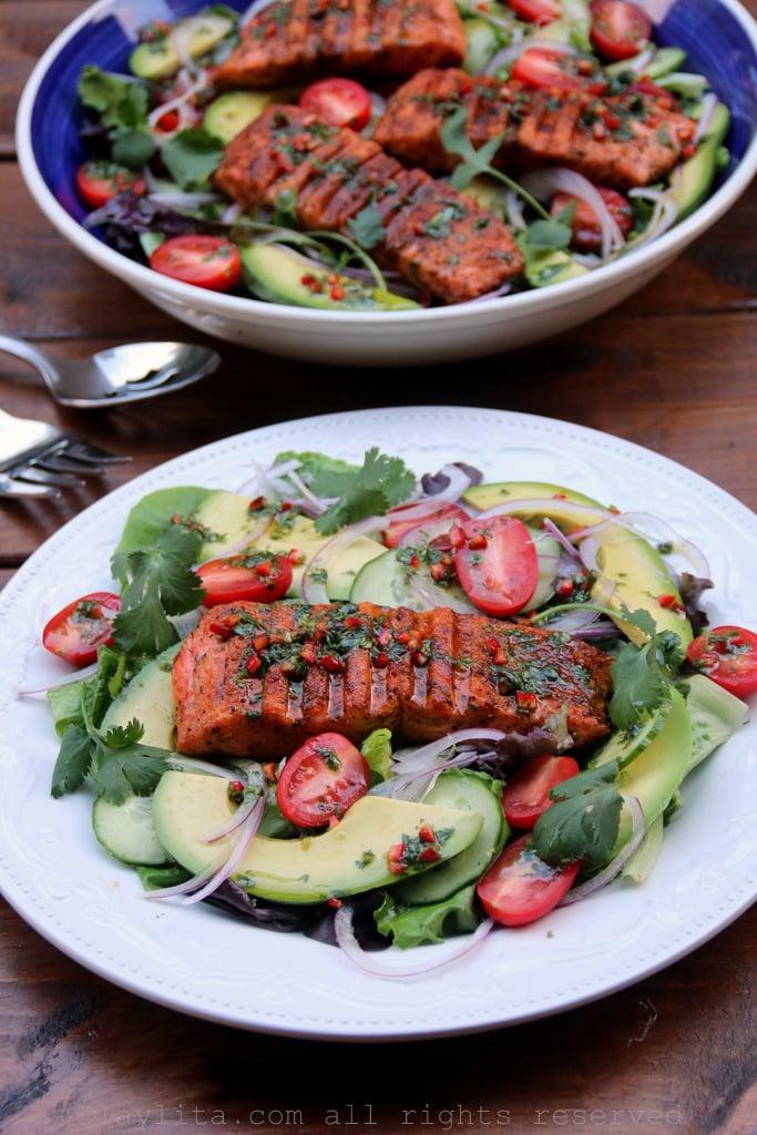 Ensalada con salmon asado