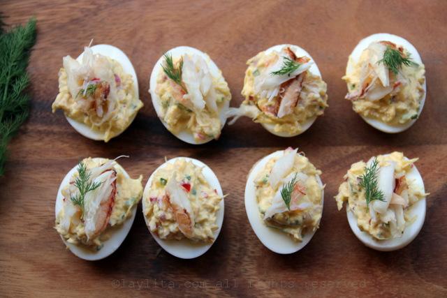 Huevos rellenos con cangrejo