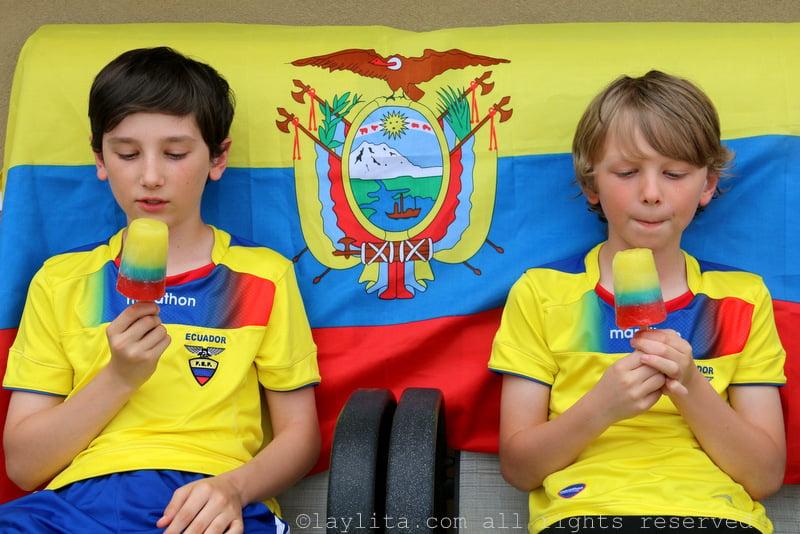 Los chicos apoyando a la seleccion ecuatoriana