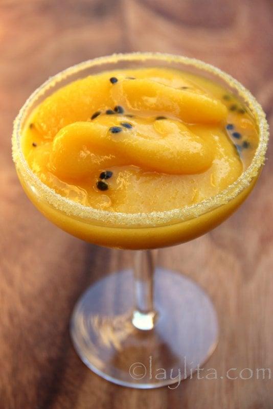 Margarita de mango con maracuya receta
