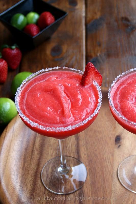 Margaritas de fresa o frutilla frape o congeladas