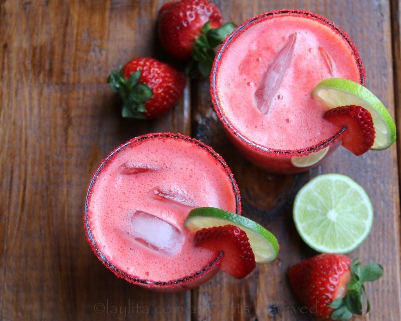 Margaritas de fresa o frutilla