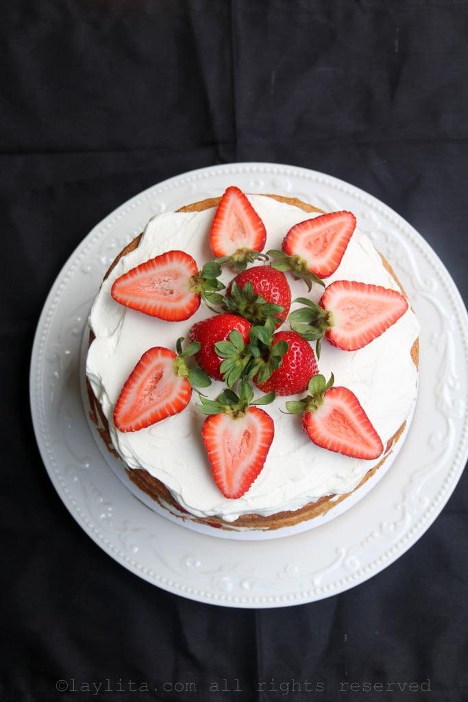 Receta para pastel de fresas con crema