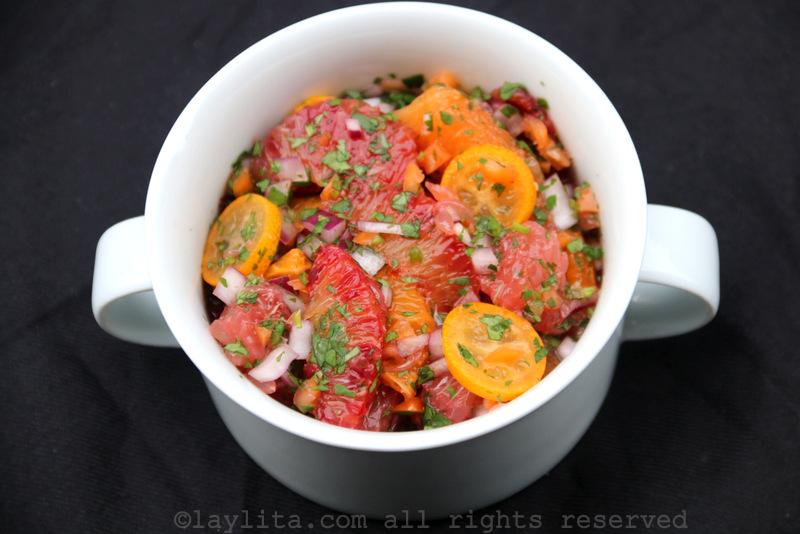 Salsa de frutas cítricas con habanero