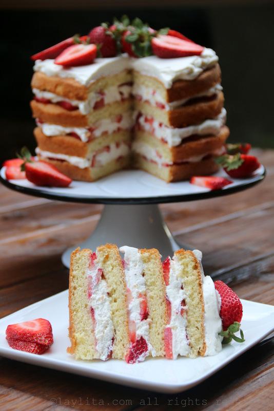 Torta de fresas con crema