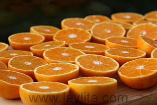 Mandarines coupées en tranches