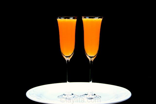 À votre santé! Le mimosa à la mandarine.