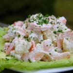 Salade de pommes de terre aux crevettes