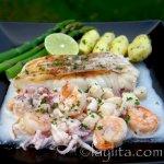 Sauce fruit de mer sur poisson grillé