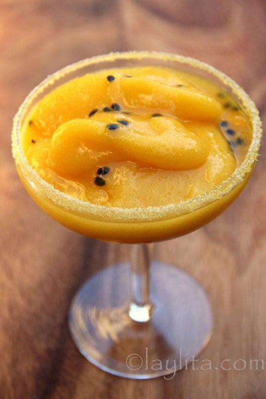 Le cocktail margarita mangue et fruit de la passion