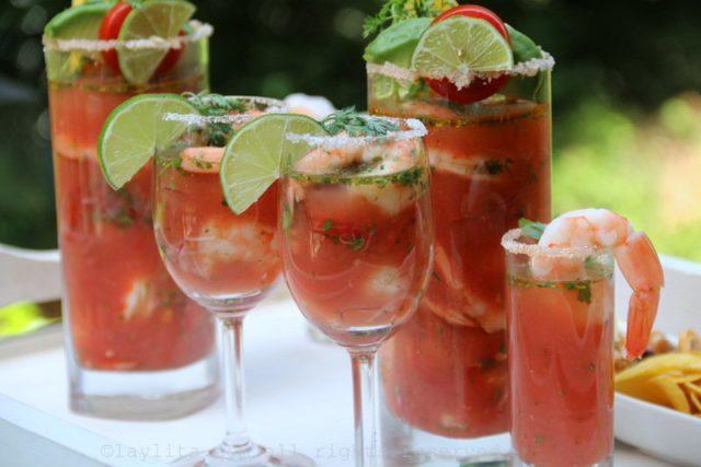 Ceviche de crevettes à la tomate Bloody Mary