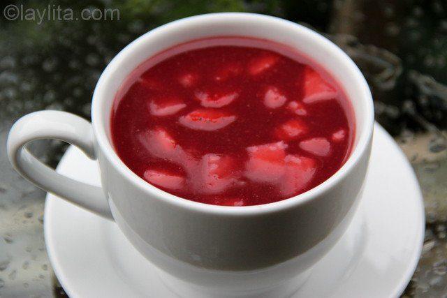 Colada morada simplifiée fruits rouges et avoine