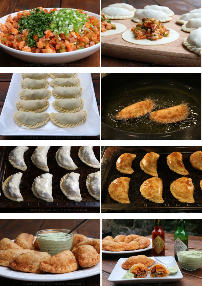 Cuisson et présentation des empanadas aux gambas et saucisses