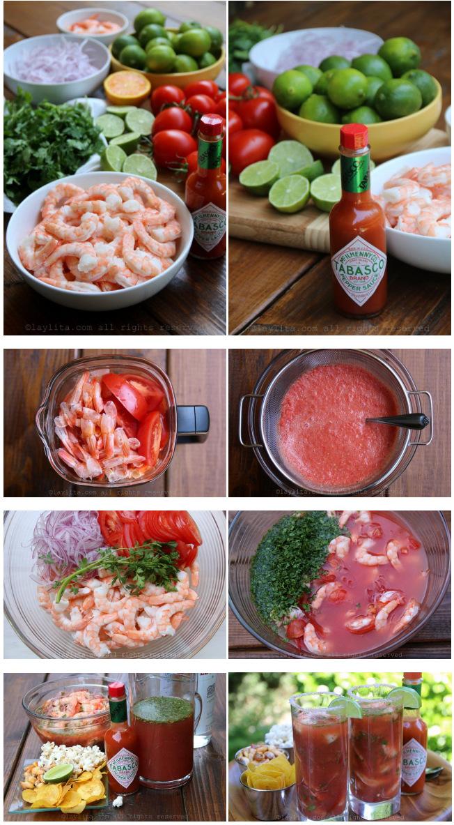 Préparation du ceviche de crevettes au Bloody Mary