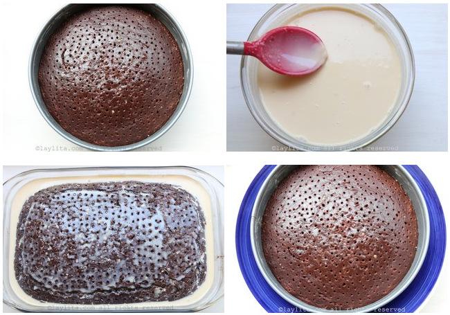 Préparation du gâteau tres leches au chocolat