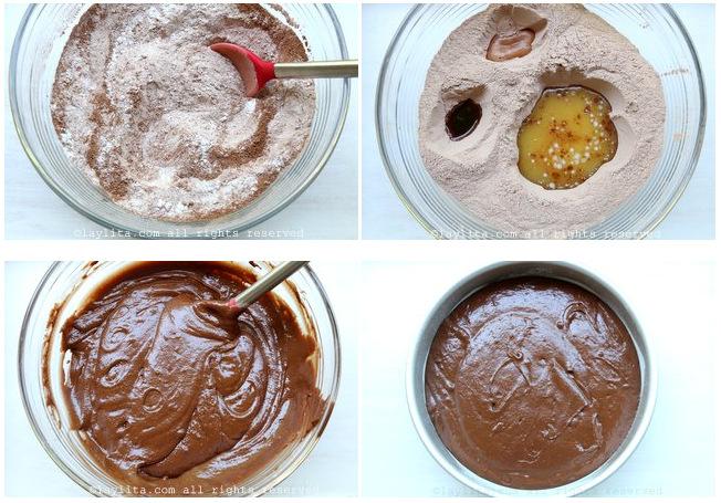 Préparation pour le gâteau au chocolat