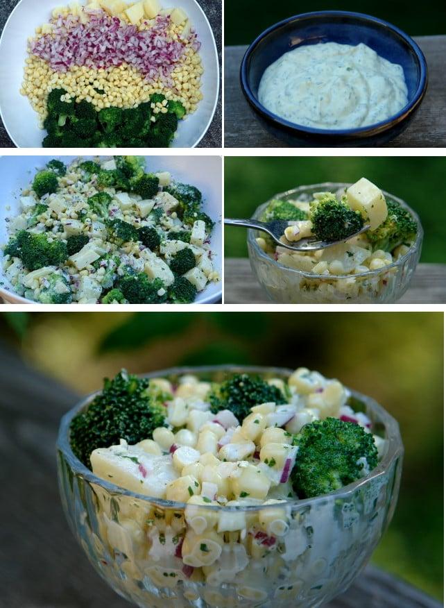Préparation de la salade au mais, brocoli et pommes de terre