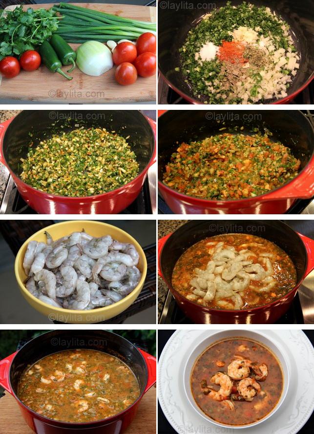 Préparation de la soupe de tortilla aux crevettes