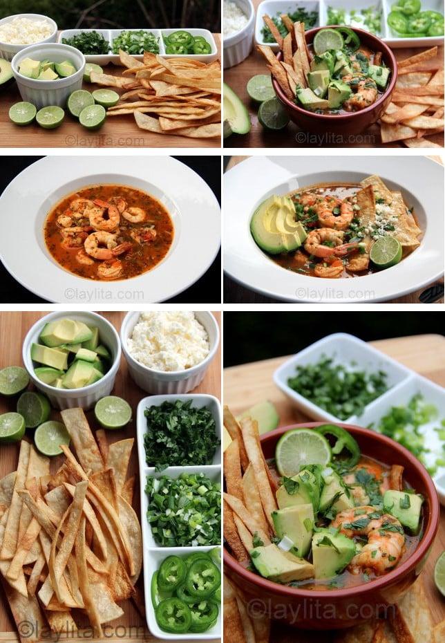 Présentation et service de la soupe de tortillas aux crevettes