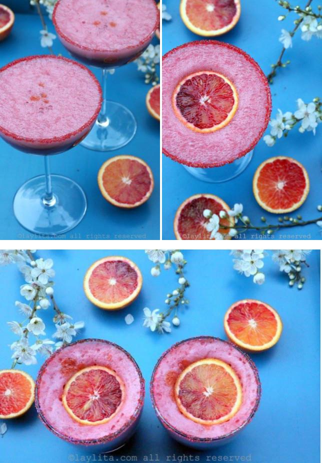Suggestion de présentation du pisco sour orange sanguine