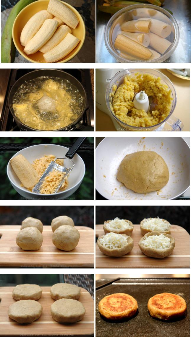 Préparation des galettes de bananes platain fourrees au fromage