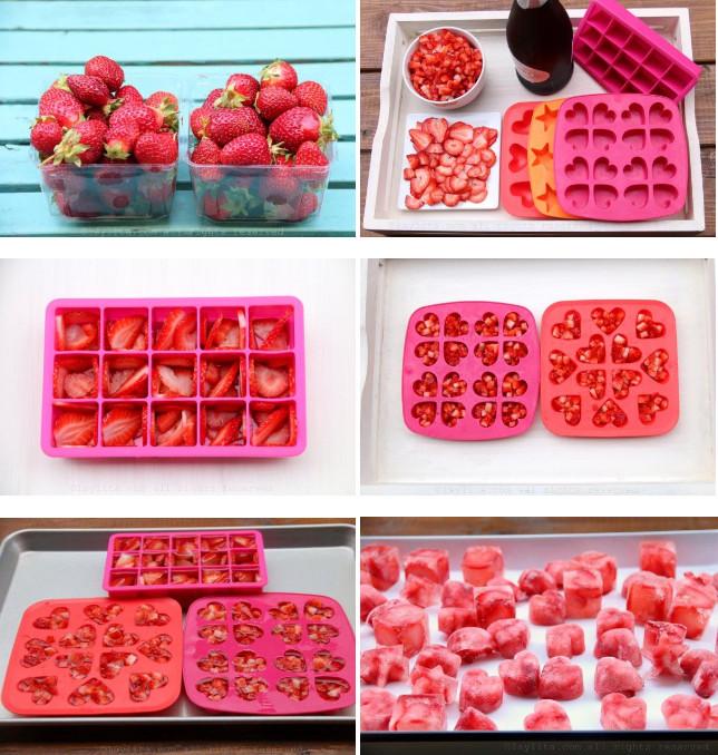 Préparation des glaçons fruités au champagne et à la fraise