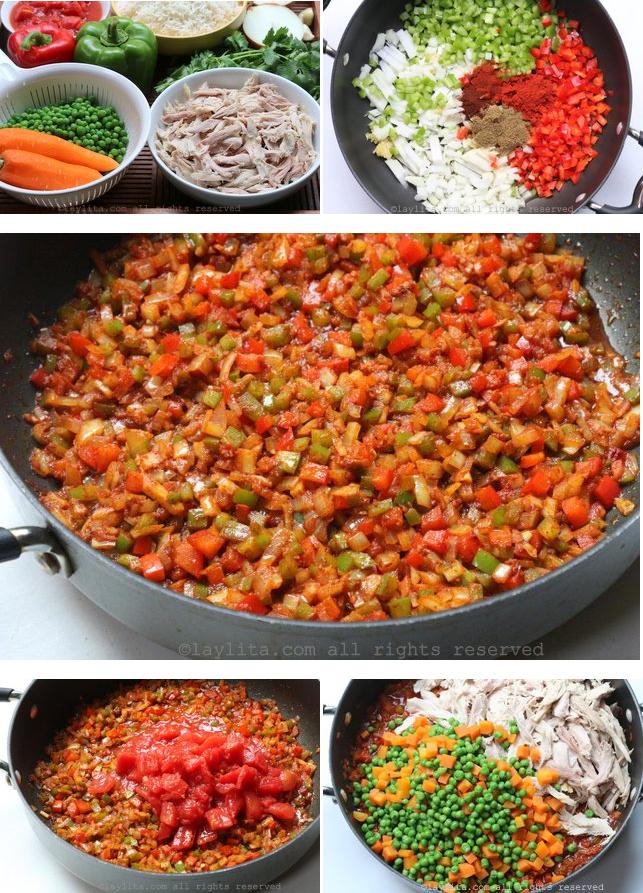 Préparation du riz au poulet ou à la dinde