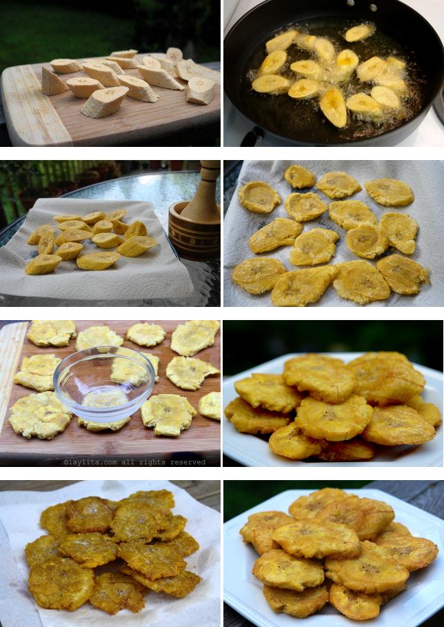 Préparation des patacones et tostones en double friture
