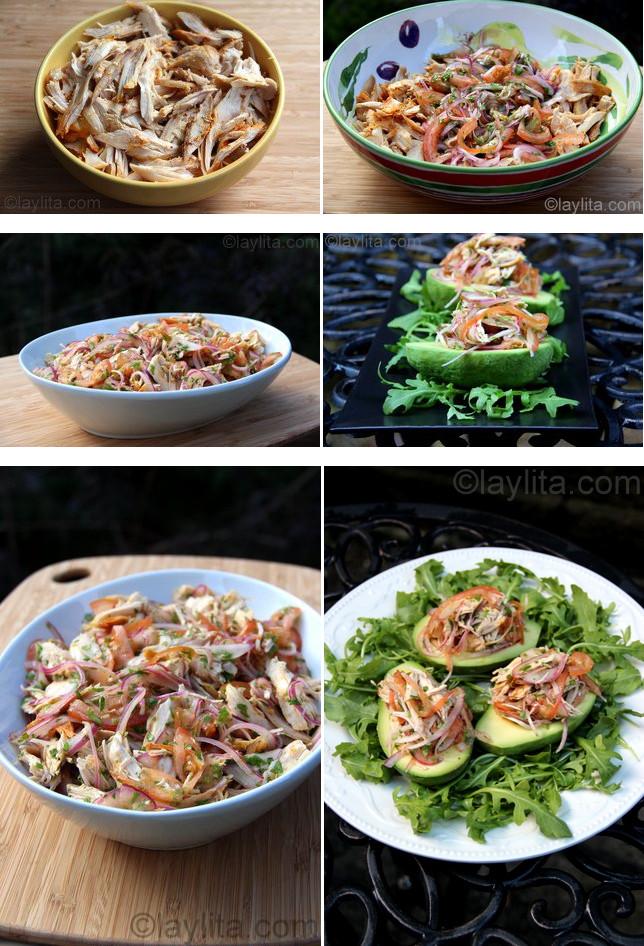 Préparation de la salade d'avocat au poulet ou à la dinde