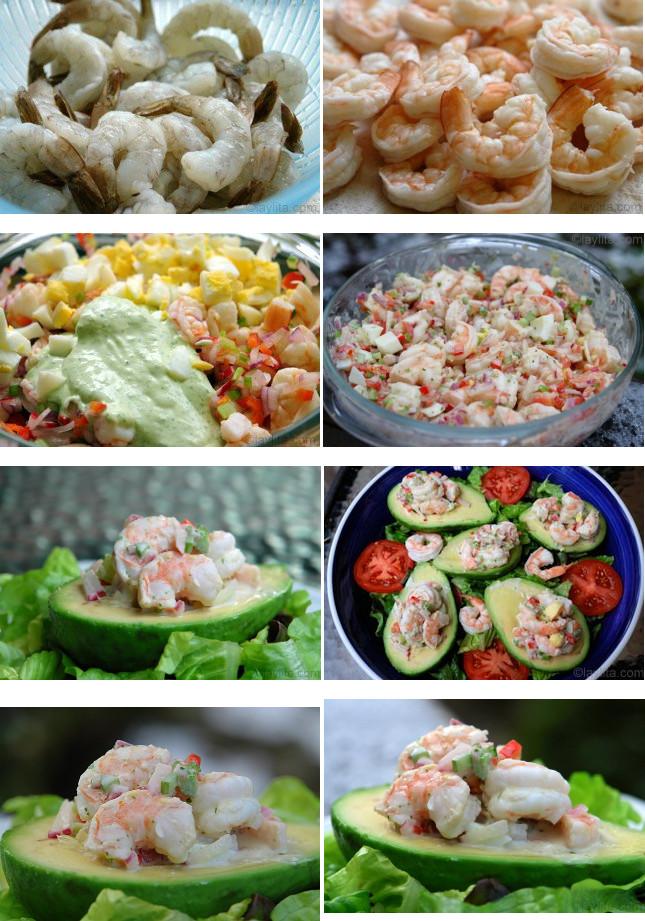 Préparation de la salade d'avocats garnis de crevettes