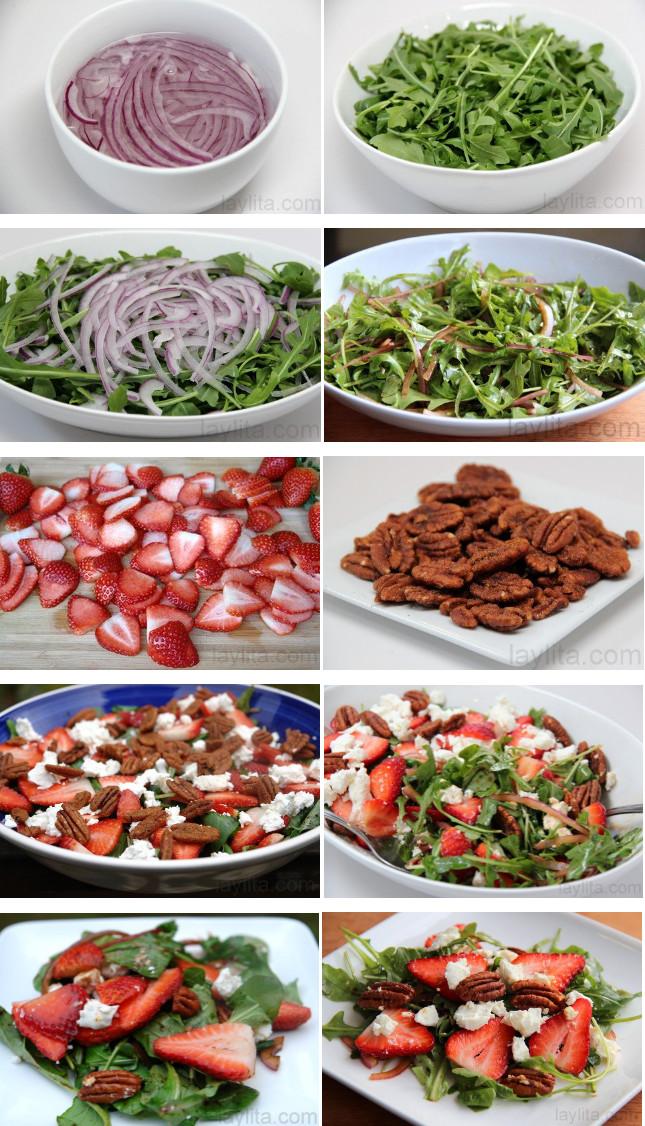 Préparation de la salade de roquette au fromage de chèvre et fruits rouges