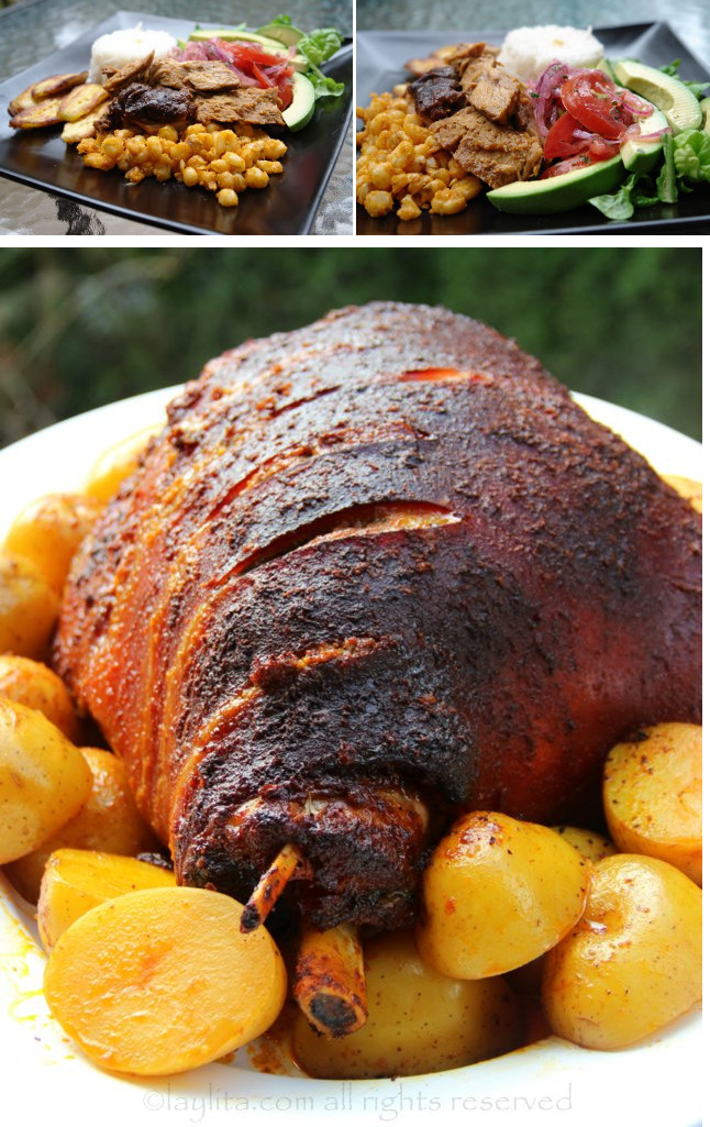 Présentation de la cuisse de porc rôti